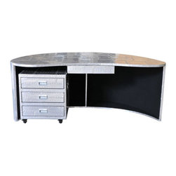 Four Hands - Unique Spitfire Desk - Add something unique to your commercial furniture. Why not start with your desk? As your desk talks about your position and lifestyle, this Unique Spitfire Desk is constructed in wood, which is then veiled with metallic sheet. The surface is rammed to raw finish that will intrigue about the design. The desk offers ample of space beneath the top to accommodate drawers or any other accessory.