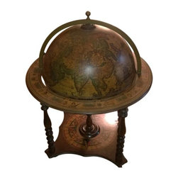 Consigned Italian Novelty World Globe Bar Cart - Height 42 in. x Width 33 in. x Depth 33 in.