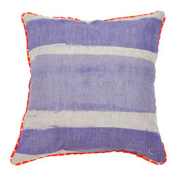Stripe Pillow - Blue + Orange - Hand painted cushion on 100% natural linen.  Two-sided reversible pillow with orange and pink stripes on white linen on one side and blue stripes on oatmeal linen on the other side. Finished with a red and pale pink ribbon trim.