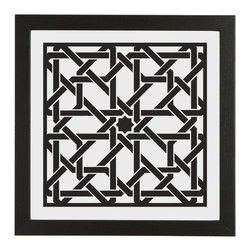 Attarine (Black) - For this design, Pik was inspired by architecture from Fez, Morocco, specifically the beautiful Attarine Madrasa, built in 1325. The artwork is printed on glass with eco-friendly UV curable ink, the frame is made of 80% recycled polystyrene, and the packaging is reusable and recyclable.