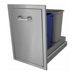 HBI - Hasty-Bake Slide Out Trash Can Stainless Steel (TCSO-18x26) - The slide out trash can uses heavy duty slides and comes with two Rubbermaid commercial trash liners for easy recycling/cleaning. These units are the perfect compliment to the Hasty-Bake deluxe door series. Made of 304 grade stainless steel.   Outside Dimensions:
