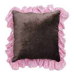 Brandi Renee Designs - Princess Chocolate and Pink Velvet Glitz Ruffle Pillow - There's no such thing as too much glitz and glamour! Make sure the pretty little princess in your life has her own happily ever after with this glamorous accent. The comfy polyfill pillow insert is exceptionally soft and supportive. It is covered in dark brown velvet fabric that is gentle to the touch, and framed with a sparkly pink trim. It'll feel right at home mixed in with bedding or used to accessorize a bare sitting area.