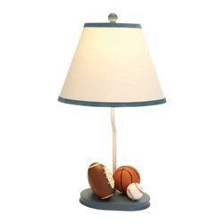 "ecWorld - Urban Designs 22"" All American Sports Kids Table Lamp - Ideal for kids that are sports fans this unique metal table lamp is the perfect lamp to uplift any room decor.  Features a miniature basketball, football and baseball affixed at the bottom part of the base, atop a soft beige shade that complements and lightens up the ambience in the bedroom. Long lasting performance and a prolonged shelf life."