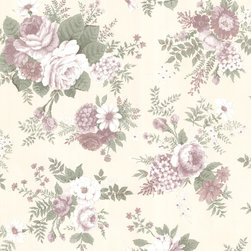 Beacon House - La Belle Maison Verdant Wallpaper - Bold blooms in gentle hues bring such charm to your decor. This floral motif is ideal for any setting in which you love to linger and simply appreciate your life.