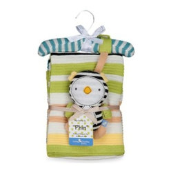 Living Textiles - Lolli Living by Living Textiles Baby Cotton Knitted Blanket & Rattle Toy in Phin - Let your child have some fun with Phin the Penguin. This cotton knitted blanket & toy rattle is the perfect gift for baby to snuggle and cuddle with.