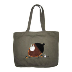 Totoro and Acorns Shoulder Bag - Totoros and acorns adorn this handy shoulder bag. Constructed out of sturdy canvas, this bag is perfect for toting your lunch, groceries, and your laptop. Whatever you decide you need, keep them close with Totoro on your side.