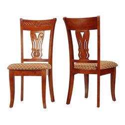 Cortesi Home - Josephine Dining Chair (Set of 2) - The Josephine dining chair adds a touch of class with its elegant and refined Queen Anne style. Graceful cabriole legs and a decorative fiddle splat back are standout features. Upholstered in a brown & gold geometric brocade fabric. This chair is made out of solid wood in a chestnut finish and carved to perfection.