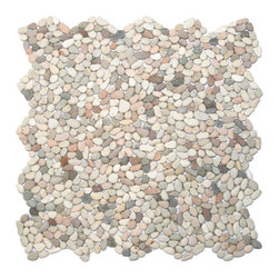 "CNK Tile - Mini Island Mix Pebble Tile - Each pebble is carefully selected and hand-sorted according to color, size and shape in order to ensure the highest quality pebble tile available.  The stones are attached to a sturdy mesh backing using non-toxic, environmentally safe glue.  Because of the unique pattern in which our tile is created they fit together seamlessly when installed so you can't tell where one tile ends and the next begins!     Usage:    Shower floor, bathroom floor, general flooring, backsplashes, swimming pools, patios, fireplaces and more.  Interior & exterior. Commercial & residential.     Details:    Sheet Backing: Mesh   Sheet Dimensions: 12"" x 12""   Pebble size: Approx 1/4"" to 1/2""   Thickness: Approx 1/4""   Finish: Mixed Natural"
