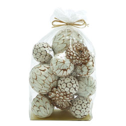 """Benzara - Mesmerizing Decorative Dried Sola Ball Bag - Bring home embellishing Decorative Dried Sola Ball Bag that will freshen up your room space. This dried sola ball bag comes in white and golden color palette in an artistic styled. This dried sola ball bag can be used to restore office, home, restaurants positive ambience. Impeccable finish and looks are the most visible features of this dried sola ball that will make you win appreciations from many. Guests paying a visit over you place will be surprised to check out this wonderful dried sola ball bag. Beautifully wrapped this dried sola ball bag can be gifted to surprise your near and dear ones. This dried sola ball bag is worth owning. Decorative Dried Sola Ball Bag measures 9 inches (w) x 5 inches (L) x17 inches (H), 2 inches (w) x 4 inches (L) ball, 4 inches (w) x 3 inches (L) ball; White and gold color palette; Beautiful office and home accessory; Dimensions: 8""""L x 6""""W x 8""""H"""