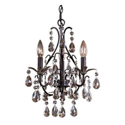 Minka-Lavery - Castlewood Crystal Mini-Chandelier by Minka-Lavery - The Minka-Lavery Castlewood Crystal Mini-Chandelier takes sparkle to a whole new level, accenting smaller spaces with warm hues and opulent details. Features crystal accents and a Walnut-colored finish with Silver highlights.