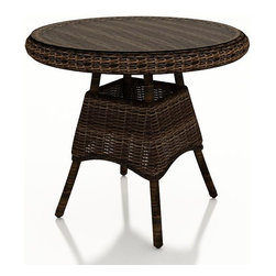 """Forever Patio - Leona 30 in. Round Wicker Dining Table, Mocha Wicker - The Forever Patio Leona Rattan Outdoor 30"""" Round K/D Dining Table with Glass Top (SKU FP-LEO-30RDT-MC) is perfect for smaller patio space that still require lots of style. The mocha-colored wicker is UV-protected, and features two tones that give it a more natural, traditional look. Each strand of this outdoor wicker is made from High-Density Polyethylene (HDPE) and is infused with its rich color and UV-inhibitors that prevent cracking, chipping and fading ordinarily caused by sunlight. This wicker patio dining table is supported by thick-gauged, powder-coated aluminum frames that make it more durable than natural rattan. A beautiful tempered glass top is included with this table that is easy to clean and looks great."""