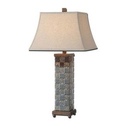 Uttermost - Uttermost 27398 Mincio Table Lamp In Ceramic - Textured ceramic base finished in a distressed dark blue glaze with a dark bronze drip. The square bell shade is an oatmeal linen fabric with natural slubbing.