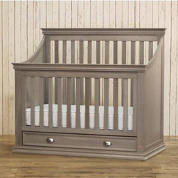 Franklin & Ben - Mason 4-in-1 Convertible Crib With Drawer, Weathered Grey - The Mason Convertible Crib's stunning sloping sides give a sense of dramatic charm, while the even vertical pillars lend stability and calm. A spacious bottom drawer provides seamless functionality, without disrupting the crib's clean lines. Its distinct contour radiates grandeur, and sets an exquisite, quality tone to any nursery.