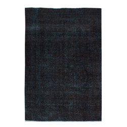 """ALRUG - Handmade Black Persian Antique Overdyed Rug 6' 10"""" x 10' (ft) - This Persian Overdyed design rug is hand-knotted with Wool on Cotton."""