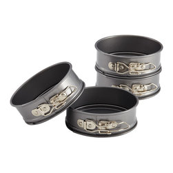 Anolon Advanced Bakeware 4 Piece Mini Springform Pan Set - Perfect for creating impressive individual portions of delicious baked goods the Anolon Advanced Bakeware Carbon Steel 4-Piece Set of Mini Springform Pans helps make luscious cheesecakes and other mouthwatering desserts. These four individually sized springform pans feature removable bottoms and collars which can be expanded or tightened with levers to form the sides. Latch the lever for baking and just unclip the lever to expand the collar and remove baked goods with ease. The pans are perfect for single-portion cakes and cheesecakes tarts and tortes. They're also ideal for creating individual ice cream cakes as well as savory galettes and mini frittatas.