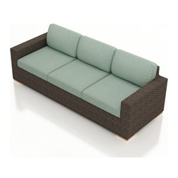 Harmonia Living - Arden Modern Wicker Sofa, Spa Cushions - The Arden Outdoor Patio Sofa with Turquoise Sunbrella® Cushions (SKU HL-ARD-S-CH-SP) adds a spacious, comfortable seat for your outdoor space. Its beautiful wicker is finished with a weathered Chestnut finish and is made from High-Density Polyethylene (HDPE), which ensures that the wicker will neither fade nor peel in regular sun exposure. What makes the Arden Collection unique is its high arms, modern style, and extra-plush cushions, all with a hint of classic traditional looks. Its teak feet elevate the seats in an attractive fashion that accent the wicker. The cushions are made from Sunbrella fabric, which is available in a large assortment of shades to give your Arden set the look that fits right into your outdoor space.