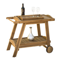 Great Deal Furniture - Pinole Outdoor Natural Stained Wood Bar Cart - The perfect touch to your kitchen or dining room, this rustic-chic Pinole outdoor wooden bar cart offers places to perch cocktails and two levels of shelving for storage. There is also a removable tray that can be used for serving and the wheels make the cart easy to move. Whether you use it for extra table space or decoration, the Pinole Wood Bar Cart will add a touch of elegance to any room it is placed in.