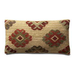 Grandin Road - Ankara Kilim Lumbar Pillow - Kilim toss pillows in your choice of size and pattern. Minimally processed wool provides an authentic, rustic texture to the cover – learn more. Plump polyester fill. Durable cotton backing. Zippered closure. Fill your home with the timeless patterns, colors, and textures of our authentic Kilim Throw Pillows. When it comes to bringing an artful touch to chairs, benches, and sofas, simply nothing else compares. Covers are masterfully artisan-crafted on traditional kilim looms, making each pillow a one-of-a-kind creation. Group multiple designs for an even more dramatic impact. . . .  . . Dry clean . Pillow inserts are vacuum packed to minimize shipping costs – simply fluff to restore shape . Imported.