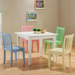 5-Piece Kids' Set Playroom Table & Chairs - I have a kids' table set from Ikea and have gotten so much use out of it over the last eight years. I love this set with pastel chairs. It would be a great addition to any playroom.