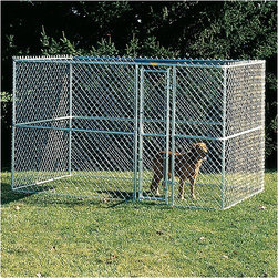 """Midwest Homes For Pets - Large Chain Link Portable Dog Kennel - Finally, there is now a kennel for your bigger dog! No more small spaces for your best pal, because with the Large Chain Link Portable Dog Kennel by Midwest Homes for Pets, your dog will have room to stretch out. The unique, patented design provides quick and easy set up, and it's even portable and easy to reposition. Also, the secure, convenient one-hand latch operation allows for the kennel door to be opened and closed while handling your pet. This super practical dog kennel also comes with a woven sunscreen that provides 80% sunblock; now your pet can have room to move around, and shade to keep them comfortable. Features: -Quick and easy set up; 30 minutes / pliers only. -Strong, secure rounded corner steel frame design. -Portable; lighter in weight than conventional kennels. -One-hand latch operation. -Sunscreen top included. -Dimensions: 72"""" H x 72"""" W x 120"""" D."""