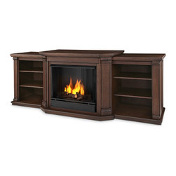 Real Flame - Valmont Entertainment Center Ventless Gel Fireplace in Chestnut Oak - Uses clean burning Real Flame gel fuel emitting up to 9,000 BTUs of heat per hour lasting up to 3 hours.