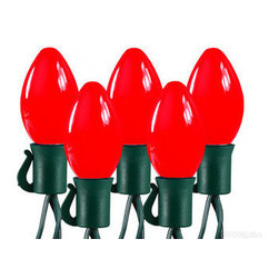 LED C7 Red Christmas Lights - Bring the cool light of a winter wonderland to your home lighting with ruby red LED Christmas lights. The 25 C7 bulbs have permanently fixed covers that are spaced 8 inches apart on green wire, making this set perfect for decorating trees and house trim. These unique lights achieve a radiant, dispersed glow by using colored LEDs filtered through a soft white bulb. UL listed for indoor/outdoor use, 87 sets of the 17-foot strings can be combined end-to-end. This holiday season wrap your home in ruby red lights.