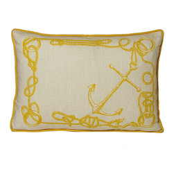 Kevin O'Brien Studio - Nautical Knots Pillow, Yellow Submarine - Our brightly colored nautical prints are screen printed onto 100% linen; piped edging; zip closure; feather/down insert included; designed in Philadelphia and made in Nepal