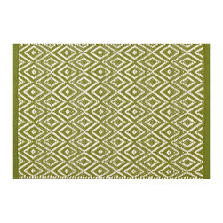 """Pine Cone Hill - PCH Diamond Sprout Indoor/Outdoor Placemat Set of 4 - Discover casual table linens with high style in the Diamond Indoor/Outdoor placemats from PCH. Ideal for layering with other colors and patterns, their mod geometric print in a cheerful sprout green and white lends a lively look to any meal. 14"""" x 20""""; Set of 4; 100% polypropylene; Designed by Pine Cone Hill, an Annie Selke company; Machine wash cold, tumble dry low; Do not bleach"""