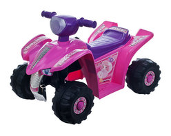 Lil Rider - Pink Princess Mini Quad Ride-on Car Four Whee - Bright Colors: Pink and Purple. Battery: 6V 4.5AH. Includes charger (charges fully in 8-12 hours for 1 hours of use). Speed: 2.17 mph. Ages: 3-4 years. Weight capacity: 55 lbs.. Dimensions: 25.5 in. L x 17.25 in. W x 16.75 in. H (15 lbs.)