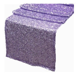 Chambury Casa - Sequined Table Runner, Lavender, 12x108 - Celebrate your special day with your reception accented with these beautiful sequined table runners.
