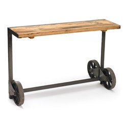 Go Home - Steel Trolley Console - Trolley Console Table is a unique and functional addition to your home. Use as an industrial sideboard, a sofa console with storage, or an entry way catch-all.Made from steel,wood and has industrial steel with wood top.