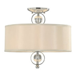 Golden Lighting - Golden Lighting 1030-SF Modern Convertible Two Light Semi Flush Ceiling Fixture - Modern Convertible Two Light Semi Flush Ceiling Fixture from the Cerchi CollectionThe Cerchi Convertible Semi-Flush Ceiling Fixture provides sophisticated modern style at an affordable price. Its polished chrome finish on metal frame with clear acrylic balls style beautifully with its drum shaped Opal Satin shade.Features