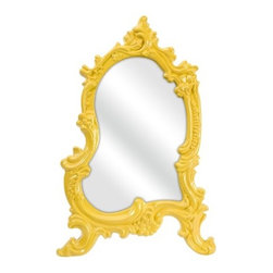 """IMAX - Frestina Vanity Mirror - Features: -Color: Yellow. -Material: 60% PU, 30% mirror, 5% MDF. -Bold canary baroque style frame. -Adds a vintage style to any space. Specifications: -Overall Dimensions: 22"""" H x 12"""" W x 15"""" D"""