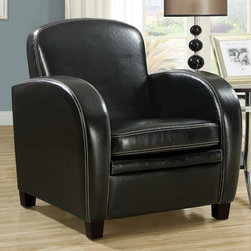 """Monarch - Black Leather-Look Accent Chair - Smooth curves and a bold design make this black upholstered chair a must accent piece for your home. The square seat and high seat back provide supportive comfort while sleek track arms and a white contrast baseball stitch round out the design with chic and sophisticated lines. Simple post legs in a dark cappuccino finish anchor the base of the chair, while the plush boxed seat cushion and padded back offer support that you will be just dying to sink into.;Features: Color: Black;Weight: 54 lbs.;Dimensions: 30.75""""L x 33""""W x 31.5""""H"""