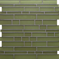 Contemporary Tile Green Random Bricks Green Cane Solids Matte Glass