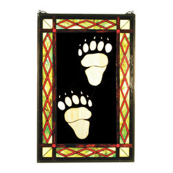 Meyda Tiffany - Meyda Tiffany Bear Tracks & Diamonds Window X-34147 - Perfect for complimenting rustic decor, this Meyda Tiffany window from the Bear Tracks & Diamonds Collection is a delight. Two large tracks take center stage, highlighted by the dark backdrop. Diamond trim with red and yellow coloring adds a pop of color.