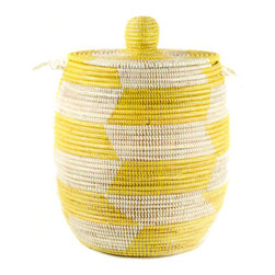 Handmade Fair Trade Woven African Hamper - Yellow - More storage, please! If I saw this in someone's house, I'd want to look in it. It's such an eye-catching basket/hamper, and it says it can hold more than a washer's load of laundry. I'm sold!