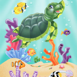 Murals Your Way - Sea Turtle Swim Wall Art - Install this wall mural in your child's room and enjoy the antics of a cute sea turtle that seems to be waving at you