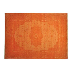 Hand Knotted 100% Wool Orange Overdyed Serapi 9'x12' Oriental Rug SH16963 - Our Overdyed & Patchwork hand knotted Rug Collection is another highly demanded rug in our industry today. For our Hand Knotted  Overdyed Rugs we have a team that strips the original colors and overdyed in either more vibrant or softer & subtle hues.  The Patchwork Hand Knotted Rugs are very unique and complex.  Its composed of several different designs made up into one rug.