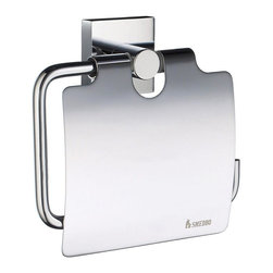 Smedbo - House Euro Toilet Roll Holder w Lid in Polished Chrome Finish - Concealed fastening. 4.5 in. W x 4.38 in. H