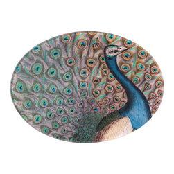 "Peacock Flourish Plate - John Derian 5"" x 7"" oval plate."