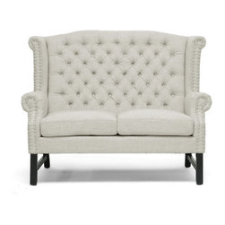 Baxton Studio - Sussex Beige Linen Loveseat - A refined elegance with a hint of regal inspiration puts the Sussex Designer Loveseat in a class of its own. Taking basic light beige linen rather than a rich, brightly-colored brocade, the modern loveseat's stately form is a juxtaposition against the fabric. Button tufting accents the back while silver nail head trim lines the scalloped armrests and backrest. The loveseat is built on a birch wood frame with black legs and foam cushioning. The Sussex Loveseat is made in China and should be spot cleaned. A matching sofa and club chair in beige are also offered as well as all three pieces in dark gray linen (each sold separately). Minor assembly is required.
