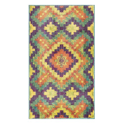 """Loloi Rugs - Loloi Rugs Isabelle Collection - Orange / Green, 3'-0"""" x 3'-0"""" Round - Both striking and practical, the boldly colored Isabelle Collection offers a scatter rug power loomed of 100% polypropylene for incredible durability and stain resistance. Ideal for kitchens, entryways, or any room that could use plenty of color. Made in Egypt."""
