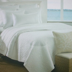 """White Sand Dollar Quilt Set - Summer white cotton and sand dollar quilting bring the look and feel of a pristine white beach straight to your decor!  This bedding ensemble comes complete with a deluxe, 20"""" x 20"""" accent pillow.  Fine detailing on the pillow includes 100% cotton fabric in the look of natural linen, a satin-stitched embroidered sea coral branch in white, decorative piping, hidden zipper closure and a removable feather and down pillow insert."""