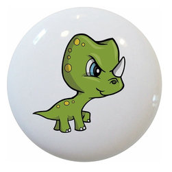 Carolina Hardware and Decor, LLC - Green Baby Dinosaur Ceramic Knob - 1 1/2 inch white ceramic knob with one inch mounting hardware included.  Great as a cabinet, drawer, or furniture knob.  Adds a nice finishing touch to any room!
