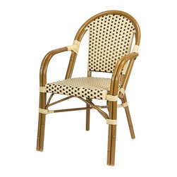 Source Outdoor - Paris Commercial Arm Chair - Lightweight, very durable and stackable. Rustproof. Can be used in indoor and outdoor. Made from high density polyethylene synthetic resin wicker and rustproof aluminum. Powder-coated bamboo finish frame. Cream and chocolate color. Warranty: Three year limited residential and one year commercial. No assembly required. 22 in. W x 19 in. D x 35 in. H (10 lbs.)They are manufactured for commercial use in high traffic areas. This is an excellent choice for your home or your business. Use them for restaurants, weddings or for any gathering. Designed to commercial specifications for resorts, hotels and discerning homeowner. Ideal for indoor or outdoor patios, restaurants, cafes, weddings or for any gathering.