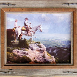 MyBarnwoodFrames - Western Frames with Barbed Wire-8x8 Hobble Creek Series - Western  Frames  for  the  Cowboy  in  You          One  of  these  western  frames  crafted  from  barnwood  and  barbed  wire  are  a  novel  way  to  showcase  your  western  art  and  photography.  Rugged,  natural  and  rustic,  they'll  accent  your  western  decor,  and  each  makes  a  great  gift  for  the  cowboy  or  cowgirl  you  know  who  has  a  taste  for  primitive  decor.  We  start  with  a  piece  of  sun-drenched,  wind-brushed  barnwood  and  add  a  distressed  alder  overlay.  We  finish  the  whole  thing  off  with  a  little  bit  of  barbed  wire.  The  only  gift   your  ranch  hands  will  like  better  would  be  a  big  porterhouse  steak  (and  you  can  always  pick  up  one  of  those  too).          Product  Specifications:                  8x8  photo  opening              Exterior  dimensions  approximately  10x10              Frame  includes  backing,  glass,  and  hardware  for  hanging              Materials  include  reclaimed  barnwood,  rustic  alder  wood,  and  barbed  wire.              Please  note: due  to  the  nature  of  barnwood,  your  frame  may  vary  slightly  in  color  or  texture  from  the  one  pictured  here.  Image  is  for  display  purposes  only  and  is  not  included.