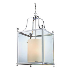 6 Light Chrome Clear Beveled Glass & Matte Opal Inside Glass Foyer Hall Pendant - This pendent fixture creates a very modern look with a classical twist. Clear beveled glass and chrome geometric shapes bring modern sleekness to any room with the warm traditional glow of matte opal glass on the inside for a pleasant contrast.
