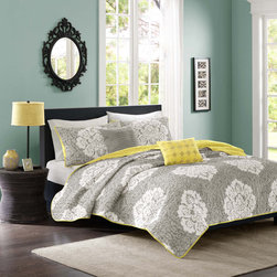ID-Intelligent Designs - Intelligent Design Ciara Grey 5-piece Damask Coverlet Set - A white damask print is displayed on a cool grey background to create this refreshing Ciara coverlet set. Reversing to a cheery yellow color,this charming and modern bedding set is complete with embroidered accent pillows and decorative shams.