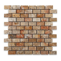 1 in. x 2 in. Scabos Honed Mesh-Mounted Travertine Mosaic Tiles - 1 in. x 2 in. Scabos Travertine Mesh-Mounted Mosaic Tile is a great way to enhance your decor with a traditional aesthetic touch. This Honed Mosaic Tile is constructed from durable, impervious Travertine material, comes in a smooth, unglazed finish and is suitable for installation on floors, walls and countertops in commercial and residential spaces such as bathrooms and kitchens.